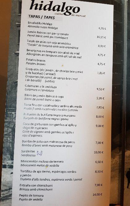 hidalgo carta patatas bravas barcelona restaurantes alioli salsas
